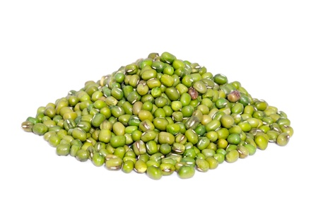 indian bean: Pile Mung Bean isolated on white background  Also called Mungo or Mung Pea  A major player in Indian and Chinese dishes  Stock Photo