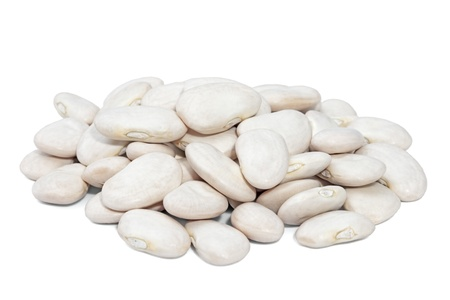 Pile Lima Bean isolated on white background  Large beans with a buttery flavor and starchy texture