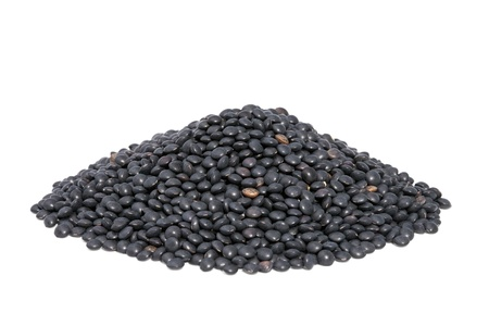 Pile Black Beluga Lentils isolated on white background  Lentils are rich in protein, carbohydrates, fiber, and low in fat Stock Photo - 13493440
