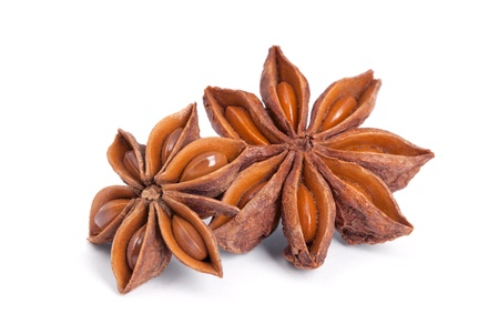 Anise star  Illicium verum  isolated on white background  Also called Star aniseed, or Chinese star anise  Used as a spice in cuisines all over the world  The plant is also used in medicine  photo