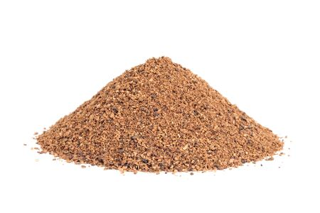 Pile of Nutmeg powder  Myristica fragrans  isolated on white background  Used as a spice in many sweet as well as savoury dishes and medicine
