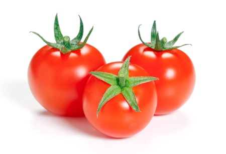 Three ripe tomato isolated on white background   Stock Photo - 13553692