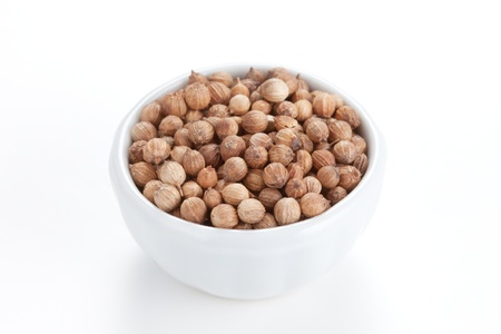 coriandrum sativum: Coriander Seeds  Coriandrum sativum  in a white bowl on white background  Also called Cilantro or Dhania or Malli  Used in cooking and to give a pleasant scent in perfumery, cosmetics, soap-making  Stock Photo