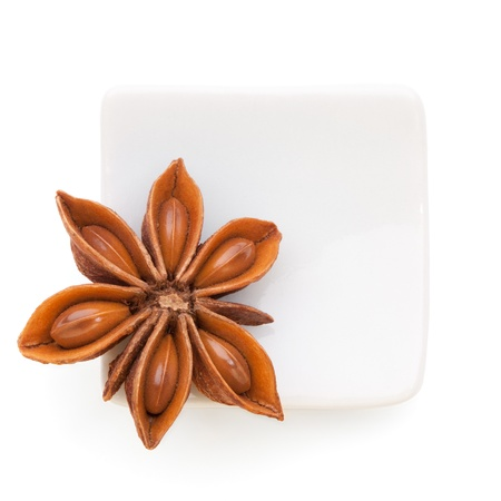 Anise star  Illicium verum   in a white bowl on white background  Also called Star aniseed, or Chinese star anise  Used as a spice in cuisines all over the world  The plant is also used in medicine  photo