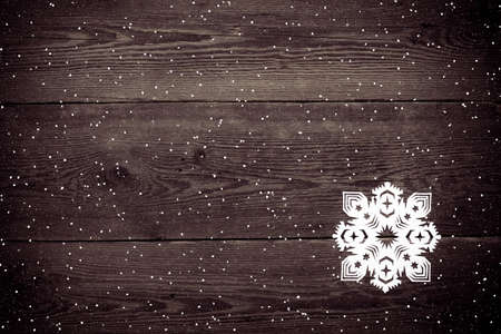 Christmas decoration with paper snowflake  - copy space Stock Photo