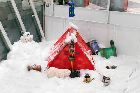 primus: Christmas ornaments with red with tourist tent in a snowy forest