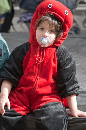 masquerading: JERUSALEM, ISRAEL - MARCH 15, 2006: Purim carnival. Portrait of a young boy dressed like a ladybird. Purim is celebrated annually according to the Hebrew calendar. Purim is the custom of masquerading in costume and the wearing of masks.