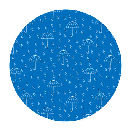 Vector image in a circle. Rain and umbrellas. T-shirt print.