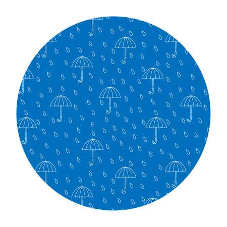 Vector image in a circle. Rain and umbrellas. T-shirt print.