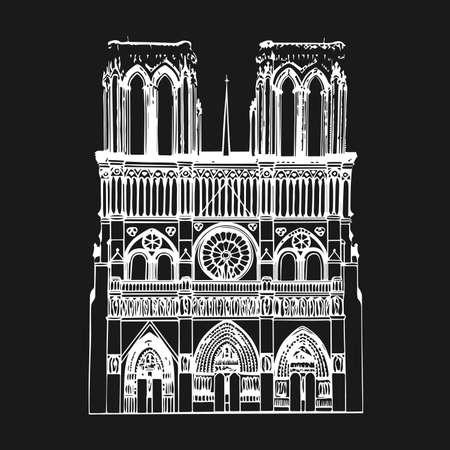 Cattedrale di Notre Dame de Paris, Francia. Illustrazione vettoriale di schizzo di disegno a mano.