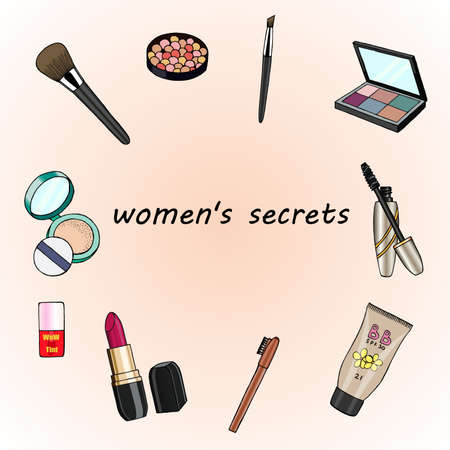 Hand drawn cosmetics set. Womens secrets.