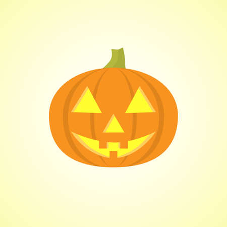 Halloween pumpkin with happy face on light background. Vector cartoon Illustration.