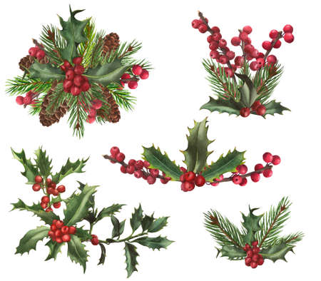 Christmas set. Arrangements with holly berries and leaves on the white backgraund. Cones, fir branches. Watercolor illustration. Imagens