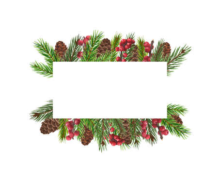 Watercolor Christmas frame. Hand painted vintage frame with holly branches, with spruce branches isolated on white background.