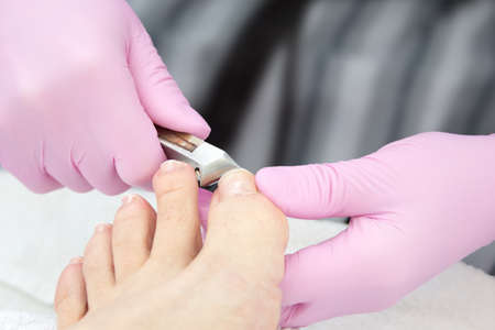 A salon specialist makes pedicure for a young woman Stock Photo - 26090744