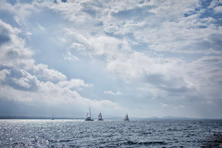 safe water: Yachts sailing in the Saronic Gulf, Greece