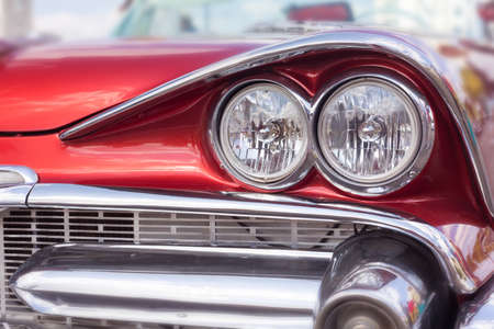 Close up of oldtimer headlight. Havana, Cuba. Shallow DOF. Toned Imagens