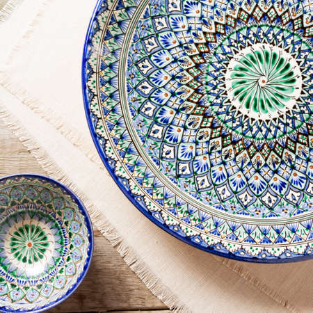 Plates with traditional uzbekistan ornament. Square