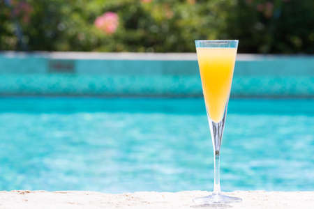 bellini: Glass of Bellini cocktail on the pool nosing at the tropical resort. Horizontal, cocktail on right side