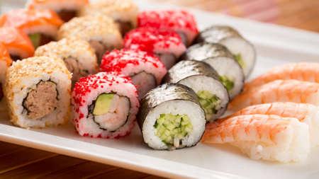 wide screen: Sushi plate in asian restaurant. Horizontal, wide screen format