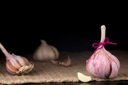 garlic clove: Pink garlic bulb on the dark background. Rustic surface. With garlic clove. With other bulbs on the background. Horizontal