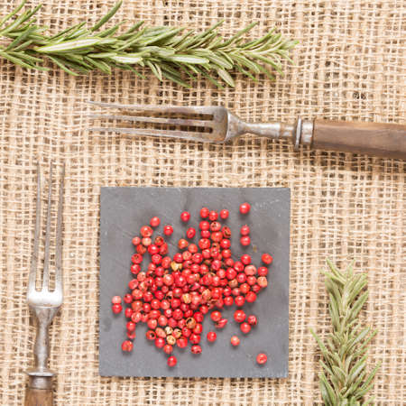 Red peppercorns on dark plate with rosemary and antique fork. Rustic background. Warm color. Square