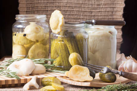 chaser: Variety of delicacies: pickles, milk mushrooms and squashes. Traditional Russian chaser. Horizontal