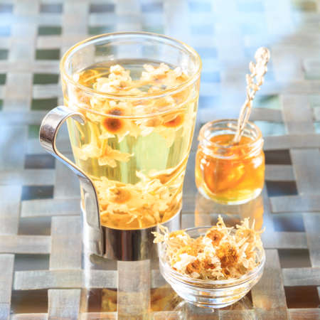 Concept of herbal tea. Camomile tea in a glass mug with honey. Healthy caffein-free drink. Neutral background. Square