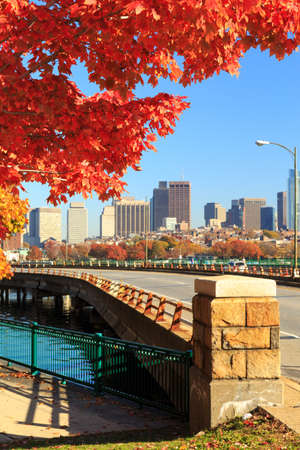 View of the Boston skyline from Cambridge Memorial Drive. Cityscape concept. Autumn skyline. Vertical