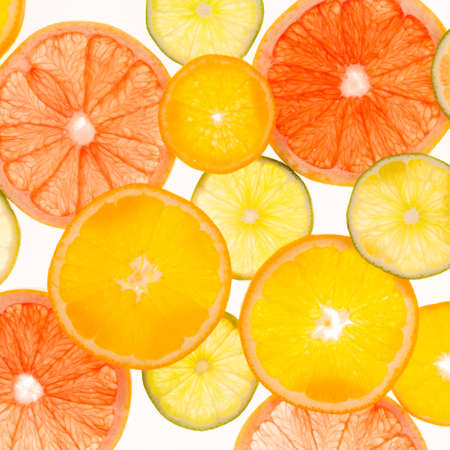 translucent red: Citrus fruits. Variety concept. Healthy food. Abstract art. Flat lay style. Top view. Two layers. Square