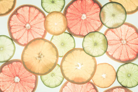 Citrus fruits. Variety concept. Healthy food. Abstract art. Flat lay style. Top view. Toned. Horizontal