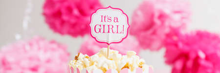 Its a girl sign in a popcorn bag at the baby shower party.  Paper flowers background. Baby shower celebration concept. Festive party background. Horizontal, wide screen format, banner format