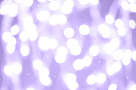 Holiday background with white blurred defocused bokeh. With smal stars. Christmas background. Horizontal. Lilac tone. Ultra violet tone, color of the year 2018
