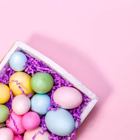 Multicolor eggs in a white tray. Creative Easter concept. Modern solid pink background. Square