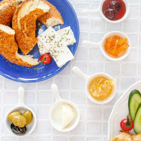 Cheese, Honey, Jam,  Olives, Simit. Authentic turkish breakfast. Local cuisine concept. Soft focus. Square