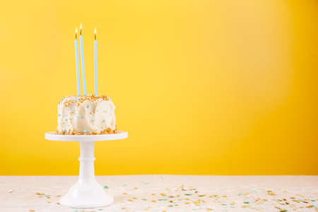Birthday cake with candles. Birthday party celebration concept. Horizontal, bold yellow background