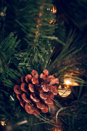 Seasonal background with pine cone on the Christmas tree. Celebration concept. Soft focus. Vertical, moody toning