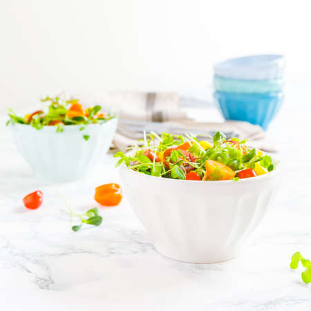 Mixed baby greens and cherry tomatoes salad in bowl. Superfood snack concept. Square