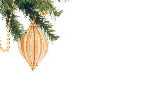 Seasonal background with Christmas toy on the tree. Celebration concept. Soft focus. Horizontal, white background