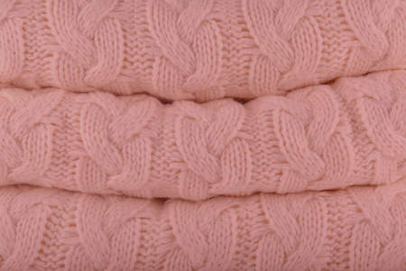 Mellow Rose Pantone fashion colors autumn-winter 2018-2019 knits pile. Warm cozy home and fashion colors concept. Horizontal Фото со стока - 112036310
