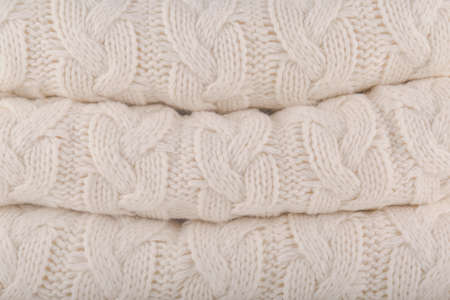 Tofu  Pantone fashion colors autumn-winter 2018-2019 knits pile. Warm cozy home and fashion colors concept. Horizontal Фото со стока - 112036312