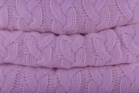 Crocus Petal Pantone fashion colors autumn-winter 2018-2019 knits pile. Warm cozy home and fashion colors concept. Horizontal Reklamní fotografie
