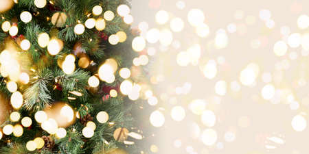 Christmas tree background. Holiday concept. Horizontal. Festive bold bokeh, wide screen banner format