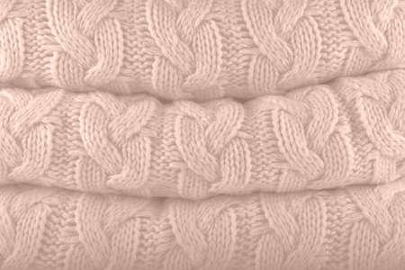 Creme de Peche. Pantone fashion colors autumn-winter 2019-2020 knits pile. Warm cozy home and fashion colors concept. Horizontal