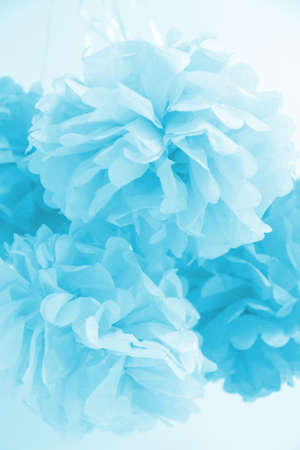 Paper flowers at the boy baby shower party. Baby shower celebration concept. Festive party background. Vertical Standard-Bild - 122380309