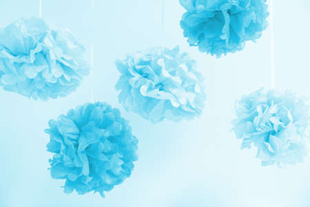 Paper flowers at the boy baby shower party. Baby shower celebration concept. Festive party background. Horizontal Standard-Bild - 122380311