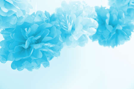 Paper flowers at the boy baby shower party. Baby shower celebration concept. Festive party background. Horizontal Standard-Bild - 122380314