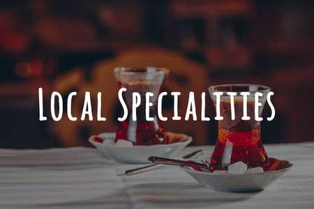 Turkish tea in the restaurant. Turkish cuisine and travel concept. Horizontal. Local specialities wording Imagens - 126500859