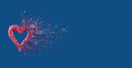 Glitter heart dissolving into pieces on classic blue background. Valentines day, broken heart and love emergence concept. Horizontal wide screen banner format