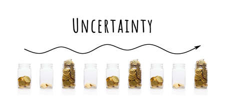 Part of Financial series images. Collage with glass jars with gold coins. Uncertainty, volatility and investment risks concept